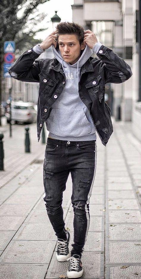 Loic Vanlang Casual Fall Outfit Idea With A Black Denim Jacket Gray Hoody Black Distressed Pants Black Denim Jacket Men Dapper Mens Fashion Denim Jacket Men