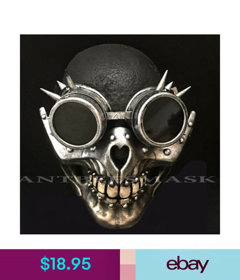 Halloween Steampunk Spikes Goggles Costume Masquerade Ball Full Face Skull Mask