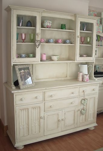shabby chic kitchen dresser painted in old white | shabby chic