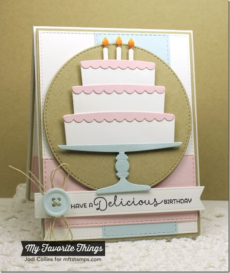 Delicious Birthday, Bring on the Cake Die-namics, Horizontal Stitched Strips Die-namics, Pierced Fishtail Flags STAX Die-namics, Stitched Circle STAX Die-namics, Vertical Stitched Strips Die-namics - Jodi Collins #mftstamps