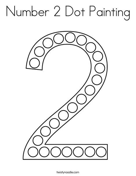 Number 2 Dot Painting Coloring Page Twisty Noodle Dot Painting Dots Numbers Preschool