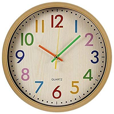 Amazon Com Relian Kids Wall Clock Non Ticking Wall Clock With Large Colorful Arabic Numbers 12 Inch Quartz Batt In 2020 Kids Wall Clock Bedroom Wall Clock Wall Clock