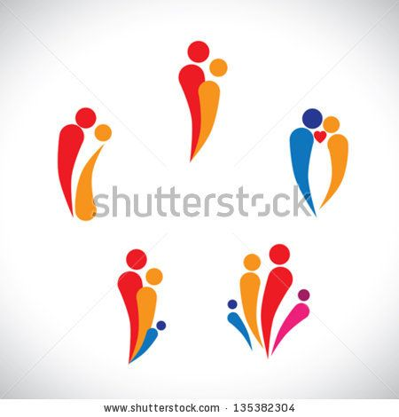 Graphic illustration - family concept parents & children, couple together loving, caring & happy - stock vector