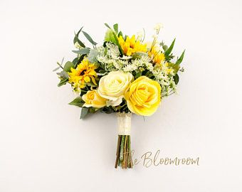 Bright Fresh Fake Flower Bouquet Sunflowers Roses Yellow Meadow Flowers Mixed Greenery Seeded E Fake Flower Bouquet Silk Flower Bouquets Eucalyptus Centerpiece