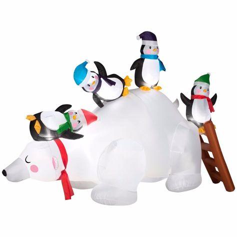 Christmas Inflatable Polar Bear 4 Penguins Yard Holiday Decor Garden Ornament  #Gemmy