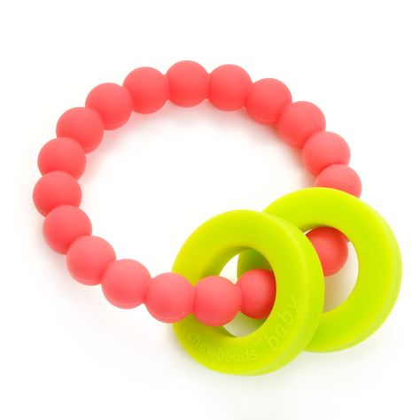 Baby Teether in Punchy Pink - A soft, flexible teether that's easy for baby to grip and totally safe for chewing. Great shower gift! #PNshop
