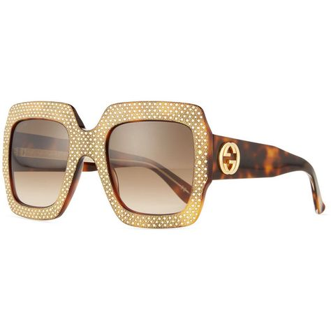 d337ec9ca0c Gucci Crystal-Trim Square Gradient Sunglasses (€1.120) ❤ liked on Polyvore  featuring accessories