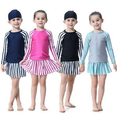 Cute Muslim Kid Girls Full Cover Swimwear Islamic Modest Swimsuit Beachwear Arab
