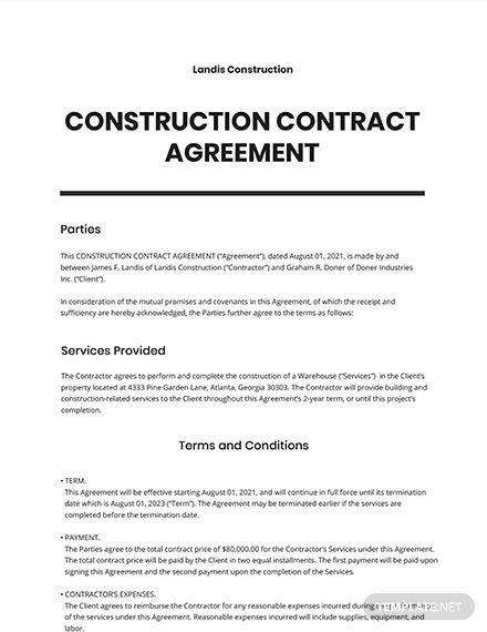 Construction Contract Agreement Template Free Pdf Google Docs Word Apple Pages Template Net Construction Contract Contract Template Contract Agreement