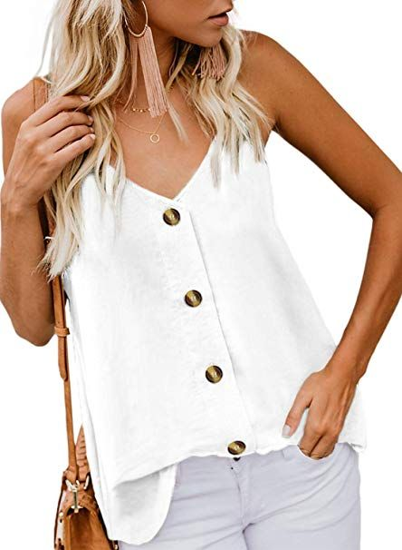 BLENCOT Womens V Neck Strappy Embroidery Tank Tops Loose Casual Sleeveless Shirts Blouses