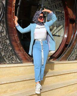 كيفية تنسيق اللون الازرق الفاتح Hijabi Fashion Casual Street Hijab Fashion Hijabi Outfits Casual