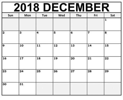 Fillable Dec 2018 Calendar Word Template December 2018 Calendar