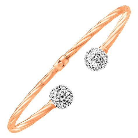 4a4955021 Crystaluxe Bangle Cuff Bracelet with Swarovski Crystals in 14K Rose Gold-Plated  Sterling Silver from Jewelry.com