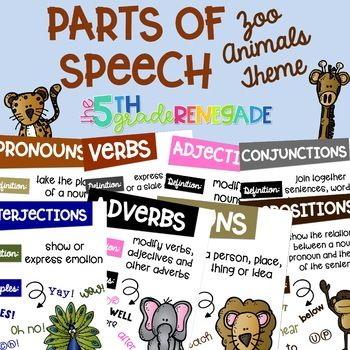 Parts of Speech Anchor Chart Posters ~Zoo Animals Theme
