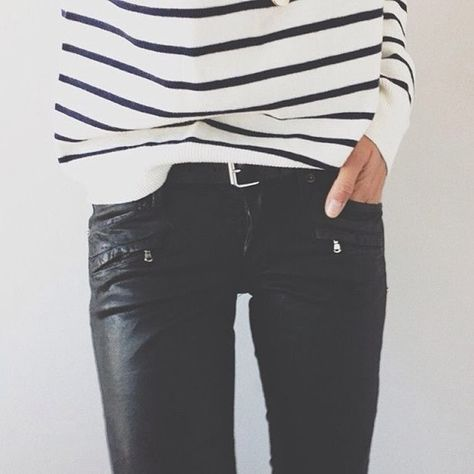 Leather pants, striped shirt