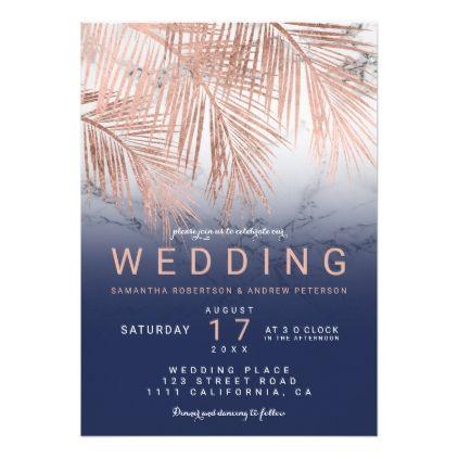 Modern Rose Gold Palm Tree Navy Marble Wedding Invitation Zazzle Com Marble Invitation Wedding Marble Wedding Wedding Invitations