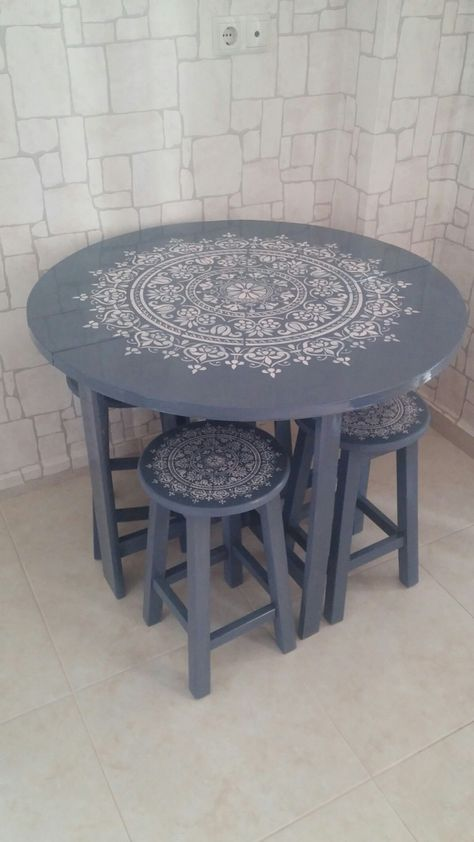Hand painted wooden chair, stencilled