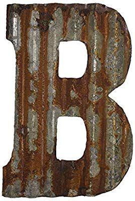 Farmhouse Rustic 12 Quot Wall Decor Corrugated Metal Letter B Metal Letters Corrugated Metal Wall Decor