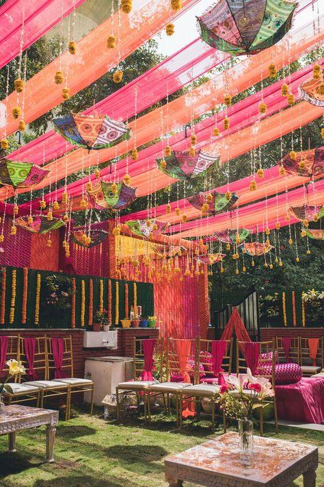 wedding decorations Photo of Suspended umbrella decor at a day mehendi function Desi Wedding Decor, Wedding Hall Decorations, Wedding Mandap, Party Wedding, Wedding Receptions, Wedding Ideas, Garden Wedding, Wedding Planning, Dream Wedding