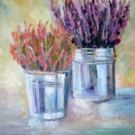 Heather Oil Painting On Canvas For Her Heather Oil Picture Etsy Flower Art Painting Oil Painting On Canvas Flower Painting