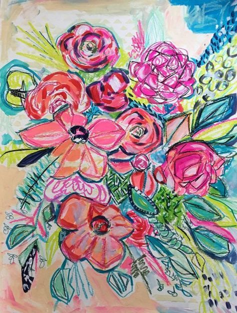 Large Flower Drawing Flower Painting Abstract Floral
