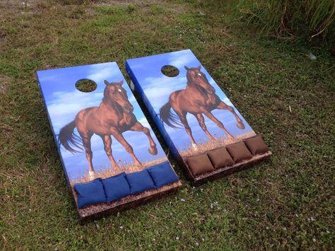 Horse Cornhole Boards | Cornhole board dimension | cheap cornhole boards | painted cornhole game