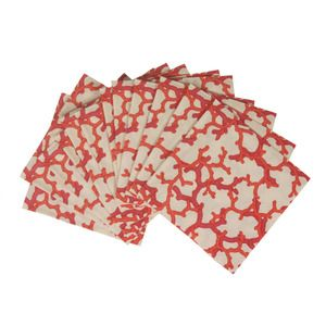 CORAL PRINT COCKTAIL NAPKINS
