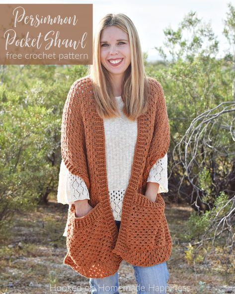 Persimmon Pocket Shawl Crochet Pattern - Hooked on Homemade Happiness
