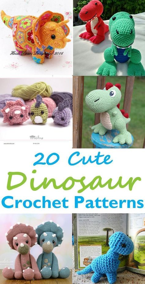 Dinosaur Crochet Patterns – For Your Dino Lover - A More Crafty Life #crochet #crochetpattern #diy