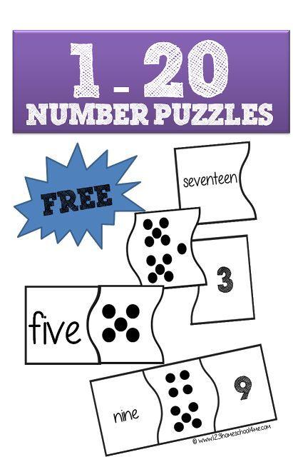 1 20 Number Puzzles Numbers Kindergarten Numbers Preschool Counting Kindergarten Math puzzle worksheets for kindergarten