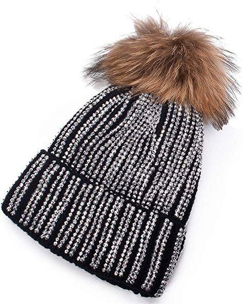 6440c3f1524 Lawliet Lady Rhinestone Bling Fur Pom Pom Knit Snow Beanie Ski Hat Skull Cap  A391 (Black) at Amazon Women s Clothing store