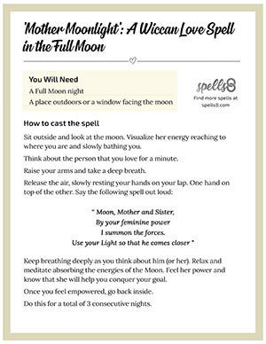 Print Wiccan Love Spell In The Full Moon Easy Love Spells Love Spells Love Spell Chant