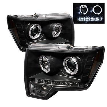 Spyder Led Black Halo Projector Beam Headlights 10 14 Projector Headlights Ford F150 Ford Trucks