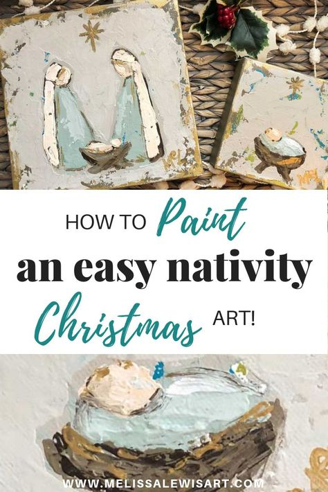 Watch this video to learn how to paint your own Christmas nativity scene or a simple baby Jesus in the manger on canvas by Melissa Lewis. art How to paint Nativity and Manger Christmas mini's for gift's or yourself! Diy Holiday Gifts, Diy Christmas Cards, Christmas Minis, Homemade Christmas, Simple Christmas, Christmas Projects, Holiday Crafts, Christmas Decorations, Christmas Manger
