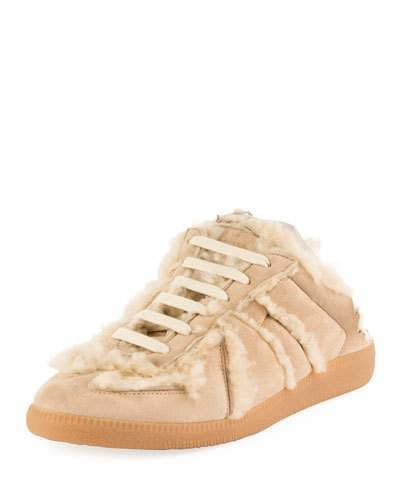 c5c9773eea7d1 Maison Margiela Sheepskin Fur Sneaker-Style Mule, Beige | Fashion ...