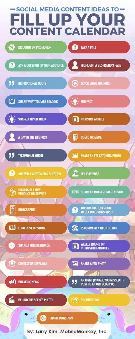 Social Media Content Ideas for Your Content Calendar - MobileMonkey