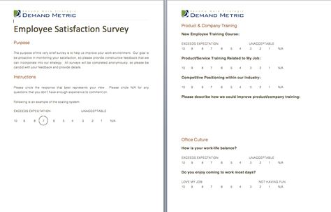 Employee Satisfaction Survey - A survey to determine how satisfied - satisfaction survey