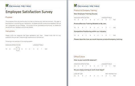 employee satisfaction surveys templates