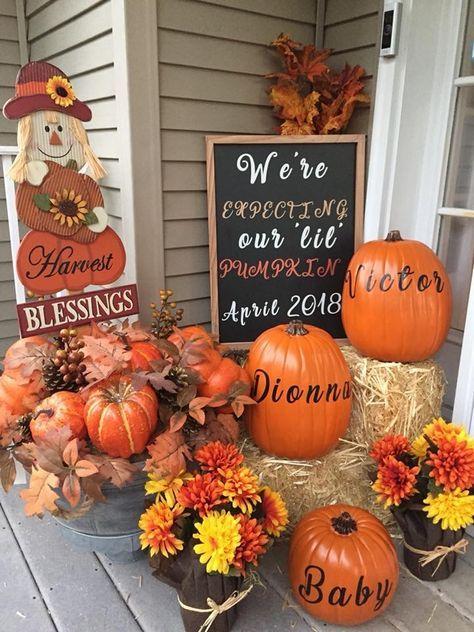 35 Ideas For Baby Announcement Fall Reveal Parties Baby Shower Fall October Baby Showers Baby Shower Pumpkin