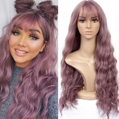 Long Wavy Hair, Long Curly, Wigs With Bangs, Hairstyles With Bangs, Shaved Hairstyles, Good Quality Wigs, Purple Wig, Purple Ombre, Wig Stand