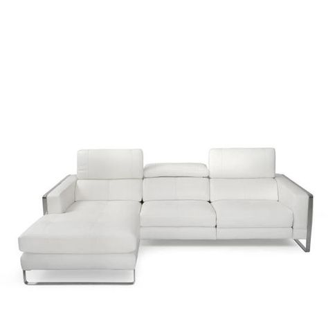 Canape Cuir Design Trois Places Avec Tetieres Relax Blanc Nevada