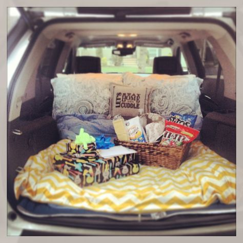 Drive in movie date for my husbands birthday. Packed his favorite food and made a comfy bed in the back of my car.  It was super romantic and fun!! He loved it :) #datenight #drivein #diydateideas