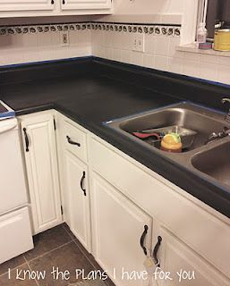 Refinishing Countertops With Chalk Paint Looks Great But Need To Check Back To See Kitchen Remodel Countertops Painting Kitchen Countertops Diy Countertops