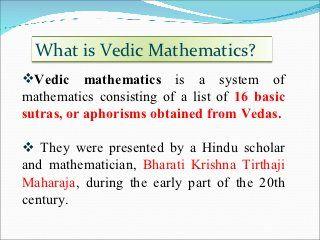 Vedic Maths Ppt Math Vocabulary Math Videos Fun Math