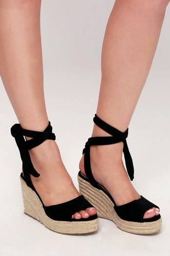 c1a8ef3ce88 Kaila Black Lace-Up Espadrille Wedges | Shoes in 2019 | Lace up ...