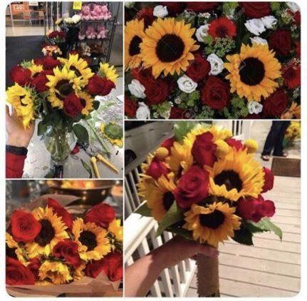 Sunflowers And Roses Sunflowers And Roses Wedding Flower Arrangements Table Wedding Flowers