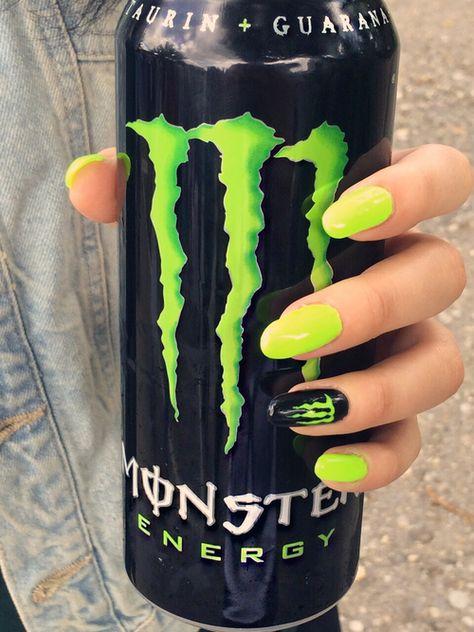energie, groen en monster energie Bild Informationen zu Love my nails Monster Energy Nails, Monster Energy Drinks, Monster Nails, Cute Nails, My Nails, Hair And Nails, Swag Nails, Gel Designs, Nail Art Designs