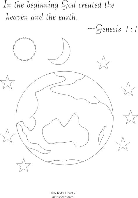 In The Beginning Coloring Sheet Verse Bible Verse Coloring