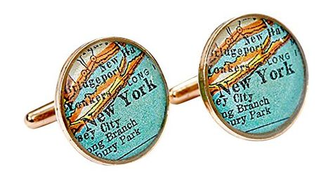 Scoutmob Men's NY Map Bronze Cufflinks Size One