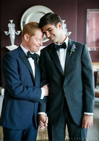 Jesse Tyler Ferguson and his husband Justin Mikita show off their stunning wedding photos by Allan Zepeda Photography on their one-month anniversary. We're so happy for this handsome couple! #celebrity #weddings